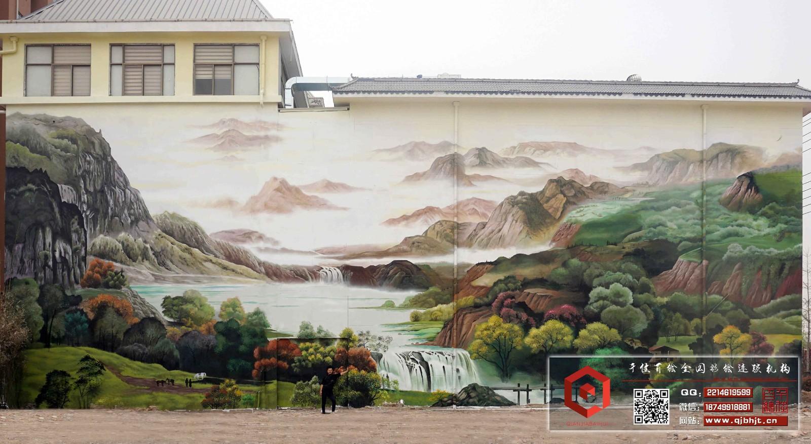 山水墙绘图片大全