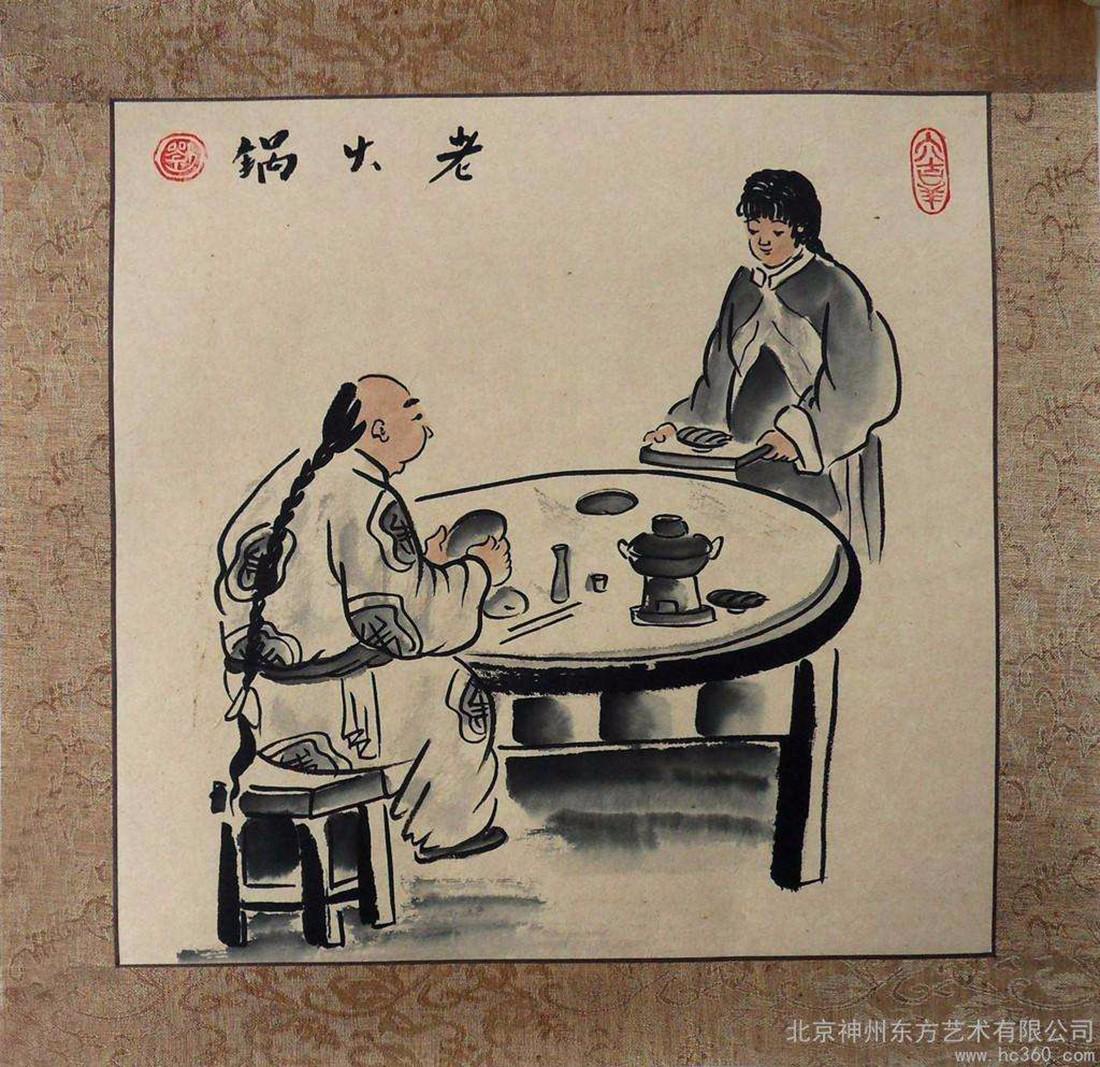 火锅店人物绘画 墙绘火锅 传统火锅人物 古代饭馆水墨人物 火锅店装饰