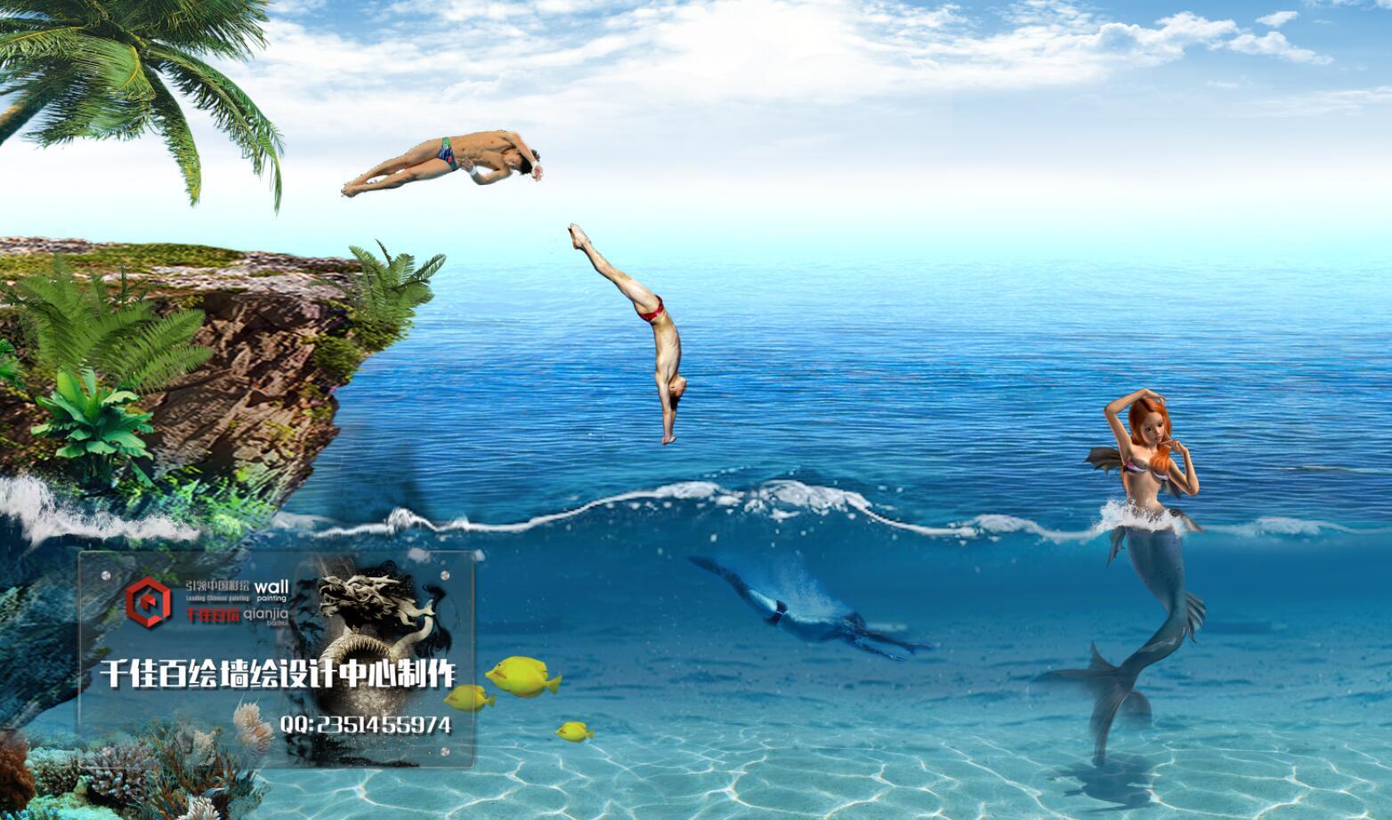 海边风景素材,游泳卡通矢量图,海浪墙绘素材,帆船墙绘素材,海边墙绘